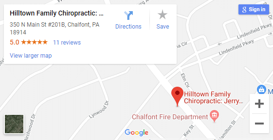 Map of Chalfont PA Chiropractors